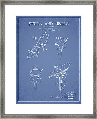 Shoes And Heels Patent From 1958 - Light Blue Framed Print by Aged Pixel