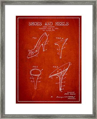 Shoes And Heels Patent From 1958 - Red Framed Print by Aged Pixel