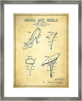 Shoes And Heels Patent From 1958 - Vintage Framed Print by Aged Pixel