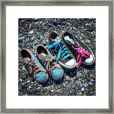 Shoes On Beach Framed Print by Geoffrey Baker