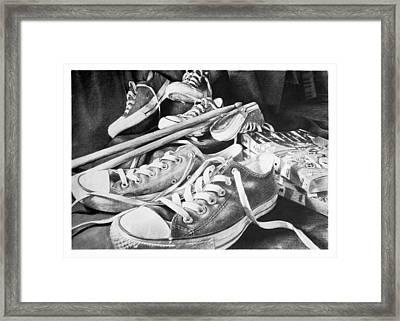 Shoes Sticks And Comics Framed Print