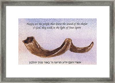 Shofar With Verse Framed Print