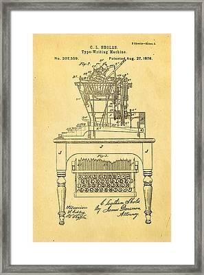 Sholes Qwerty Keyboard Patent Art 1878  Framed Print