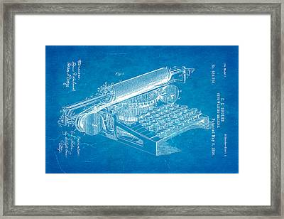 Sholes Type Writing Machine Patent Art 1896 Blueprint Framed Print