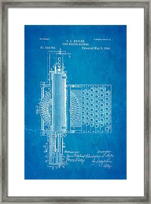 Sholes Type Writing Machine Patent Art 2 1896 Blueprint Framed Print