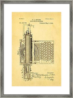 Sholes Type Writing Machine Patent Art 2 1896 Framed Print