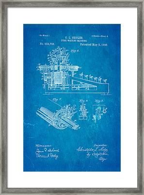 Sholes Type Writing Machine Patent Art 3 1896 Blueprint Framed Print