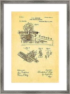 Sholes Type Writing Machine Patent Art 3 1896 Framed Print by Ian Monk