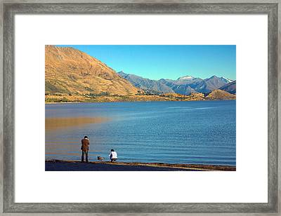 Framed Print featuring the photograph Shooting Ducks On Lake Wanaka by Stuart Litoff
