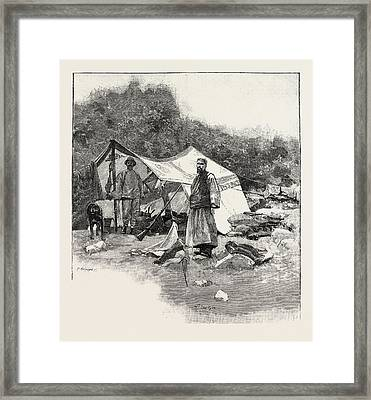 Shooting Party On The Snowy Mountain Ranges Tibet Frontier Framed Print by English School