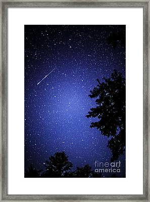 Shooting Star And Satellite Framed Print