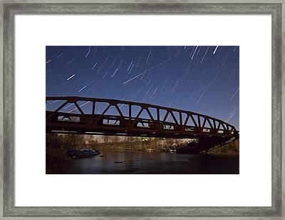 Shooting Star Over Bridge Framed Print by Dan Sproul