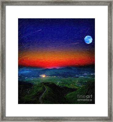 Shooting Stary Night Art Framed Print by Celestial Images