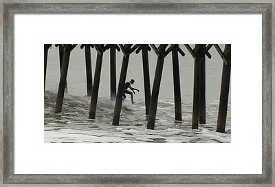 Shooting The Pier Framed Print by Karen Wiles