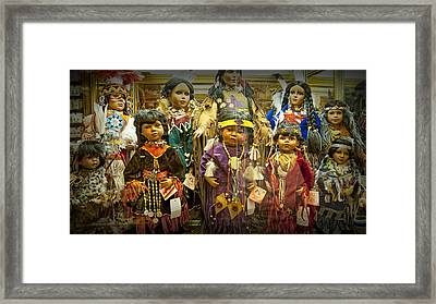 Shop Display Of American Indian Dolls Framed Print