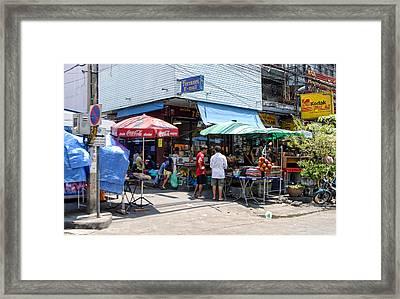 Shop District Street Corner Framed Print by Linda Phelps