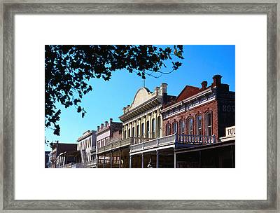 Shop Fronts In Old Sacramento - Framed Print