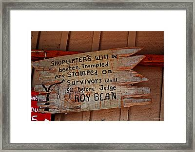 Shoplifters Warning 001 Framed Print
