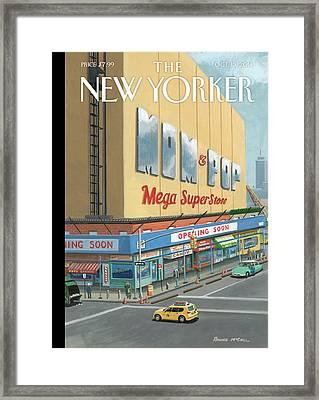 Shoppers Enjoy A Mom And Pop Mega Superstore Framed Print