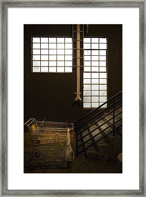 Shopping Cart Framed Print featuring the photograph Shopping Cart Stairs At Window by Peter Tellone