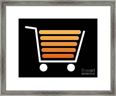 Shopping Cart White Framed Print by Henrik Lehnerer