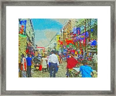 Shopping District In Varanasi India Framed Print