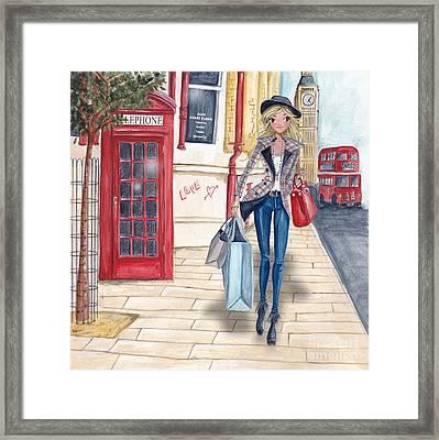 Shopping In London Framed Print by Caroline Bonne-Muller