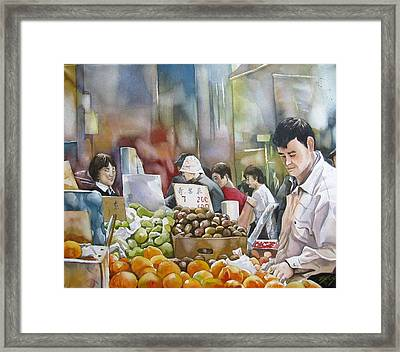Shopping In Toronto Chinatown Framed Print by Alfred Ng