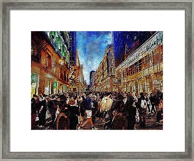 Shopping Madness Framed Print by Cary Shapiro