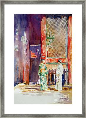 Framed Print featuring the painting Shopping  by Mary Haley-Rocks