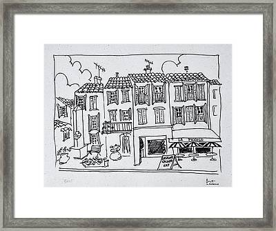 Shopping Street In The Medieval Village Framed Print