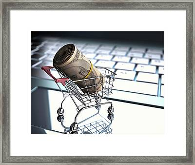 Shopping Trolley With American Dollars Framed Print