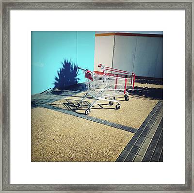 Shopping Trolleys  Framed Print by Les Cunliffe