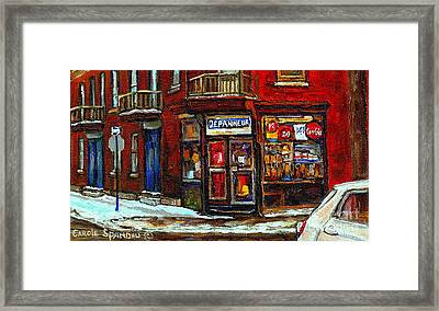 Shops And Streets Of St Henri- Montreal Paintings Depanneur Coca Cola Winter City Scenes Framed Print