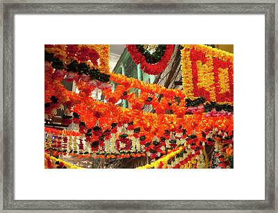 Shops Decorated For Diwali, Old Delhi Framed Print