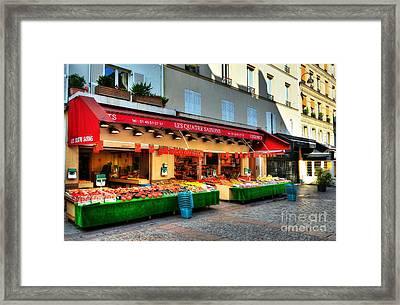 Shops On Rue Cler Framed Print