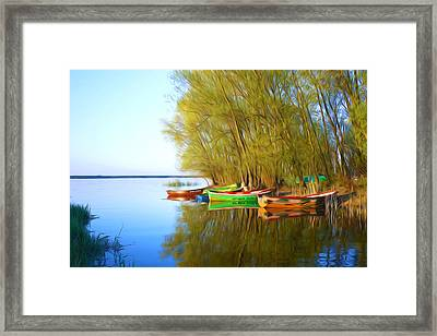 Shore Of The Lake And Moored Boat  Framed Print by Lanjee Chee