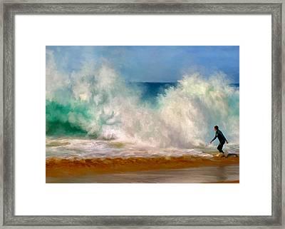 Shorebreak At The Wedge Framed Print by Michael Pickett