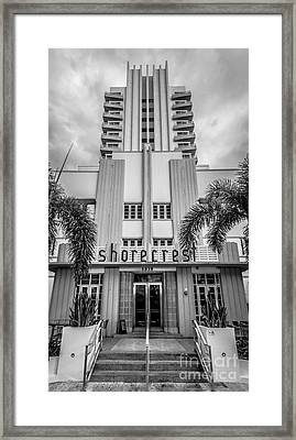 Shorecrest Hotel On South Beach Miami - Black And White Framed Print