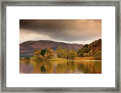 Shoreline With Fall Colors, Argyll Framed Print by John Short