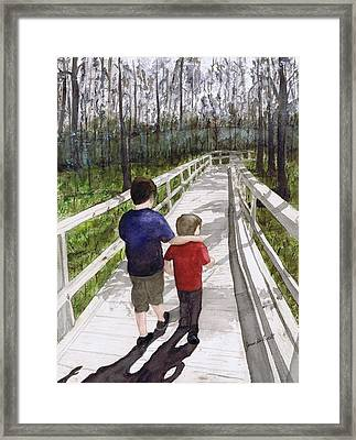 Framed Print featuring the painting Short Walk Long Pier by June Holwell