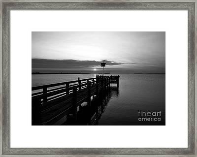 Short Walk On A Long Pier Bw Framed Print