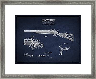 Shotgun Patent Drawing From 1918 Framed Print by Aged Pixel