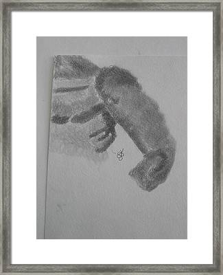 Framed Print featuring the drawing Shoulder Of A Man by AJ Brown