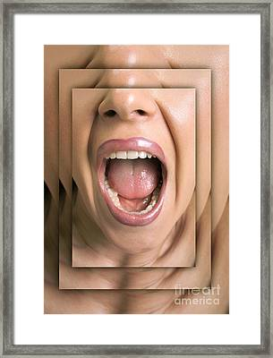 Shouting Woman Framed Print by Novastock