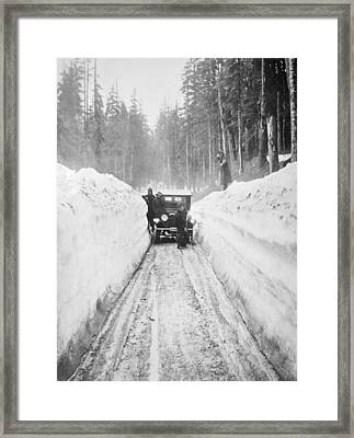 Shoveling Out From A Blizzard Framed Print by Mountain Dreams
