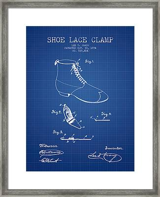 Show Lace Clamp Patent From 1894 - Blueprint Framed Print by Aged Pixel