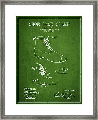 Show Lace Clamp Patent From 1894 - Green Framed Print by Aged Pixel