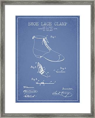 Show Lace Clamp Patent From 1894 - Light Blue Framed Print by Aged Pixel