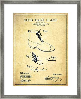 Show Lace Clamp Patent From 1894 - Vintage Framed Print by Aged Pixel